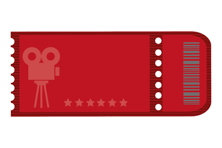 film projector: red movie ticket with film projector on it vector illustration Illustration