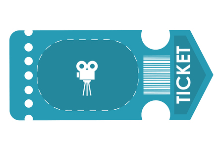 blue movie ticket with film projector on it vector illustration