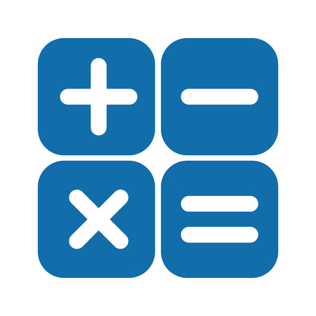 blue and white math artithmetical signs within boxes vector illustration