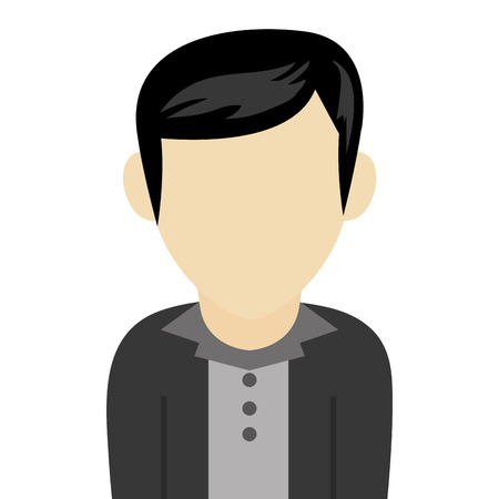 the caucasian: caucasian black hair male avatar without facial features with black jacket and grey shirt vector illustration