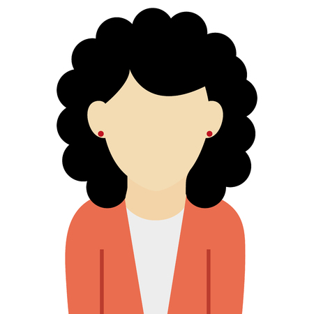 light brown hair: caucasian female with black curly hair wearing orange sweater vector illustration