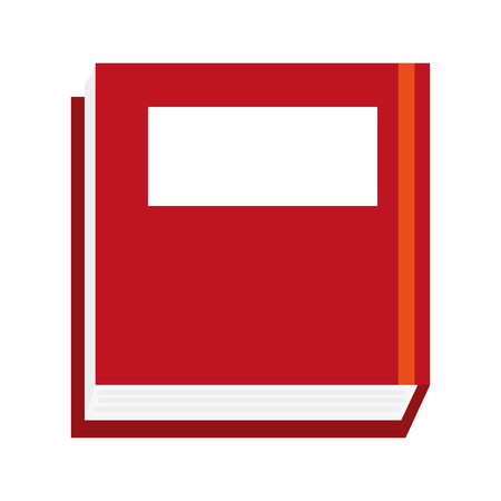 handbook: thick red book cover with blank box vector illustration