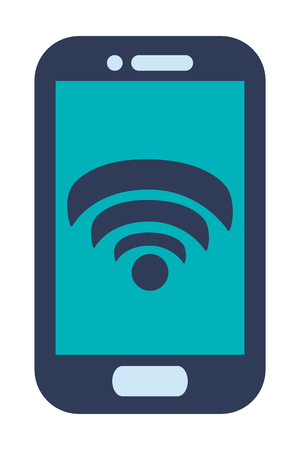 button front: blue cellphone with front button with wifi icon on screen vector illustration Illustration