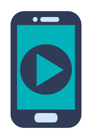 button front: blue cellphone with front button with play icon on screen vector illustration Illustration