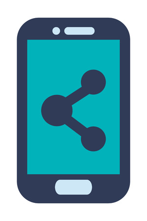 button front: blue cellphone with front button three circles vector illustration Illustration