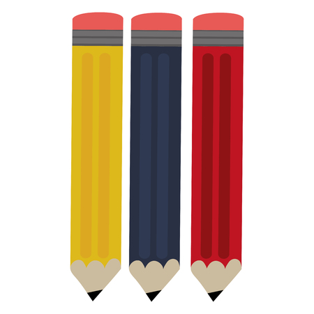 sharpen: yellow blue and red pencils with eraser vector illustration