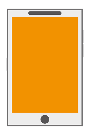 button front: white cellphone with front button and yellow screen vector illustration