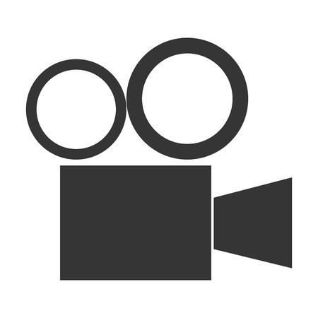 movie projector: simple grey vintage movie projector vector illustration