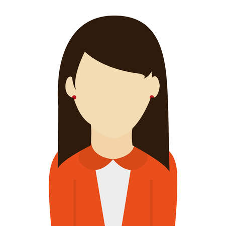 caucasian female with brown straight hair wearing orange sweater vector illustration