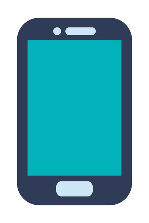 button front: blue cellphone with front button vector illustration Illustration