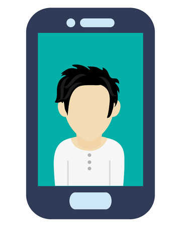 button front: blue cellphone with front button with male avatar on screen vector illustration Illustration