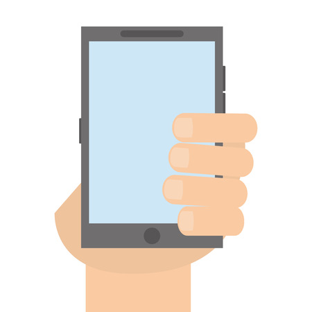 button front: hand holding grey cellphone with front button vector illustration