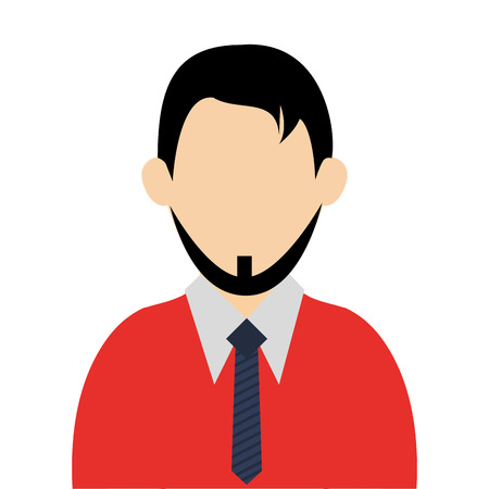 caucasian man: caucasian man with black hair and beard wearing sweater and tie avatar vector illustration Illustration