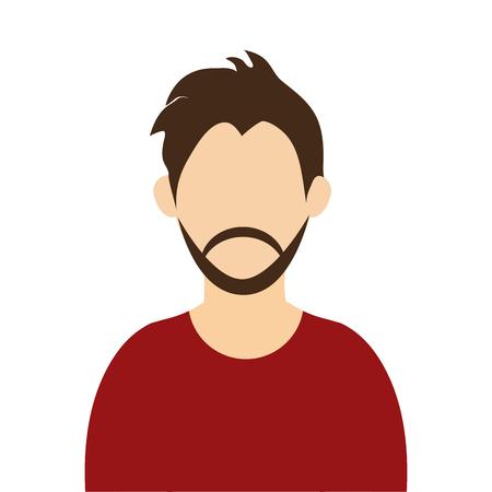 brown hair: caucasian man with brown hair and beard wearing sweatshirt avatar vector illustration