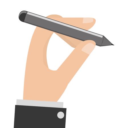 dictate: caucasian hand holding grey pencil vector illustration