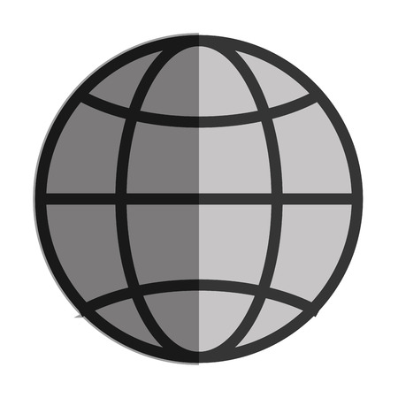 latitude: simple globe diagram with latitude lines and meridians vector illustration