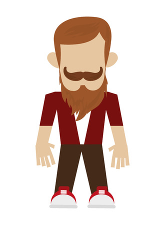 informal clothes: hipster man with full beard and mustache vector illustration Illustration