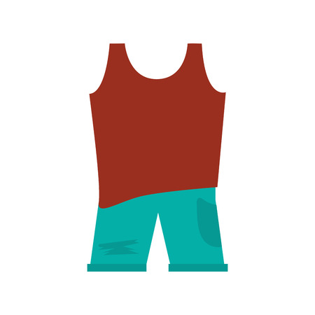 sleeveless top: brown sleeveless top with blue pants vector illustration Illustration