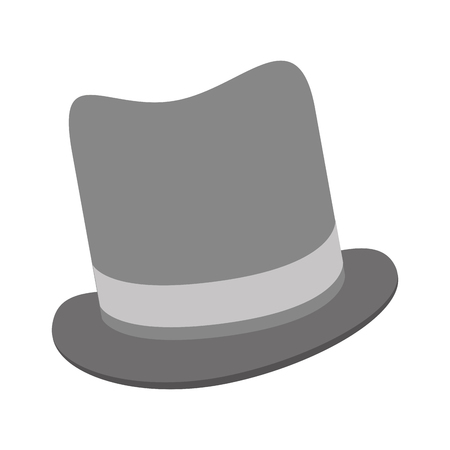 tophat: grey tophat vector illustration flat icon style Illustration