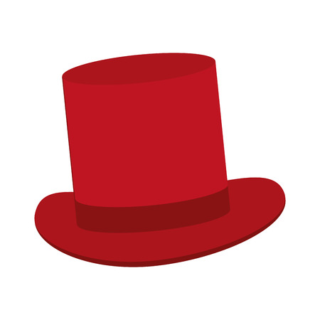 tophat: red classic tophat vector illustration flat icon style