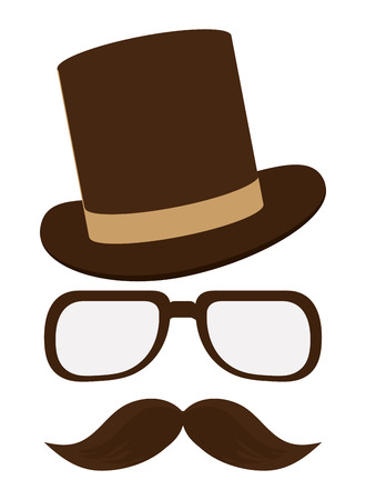brown classic hat with glasses and full mustache vector illustration