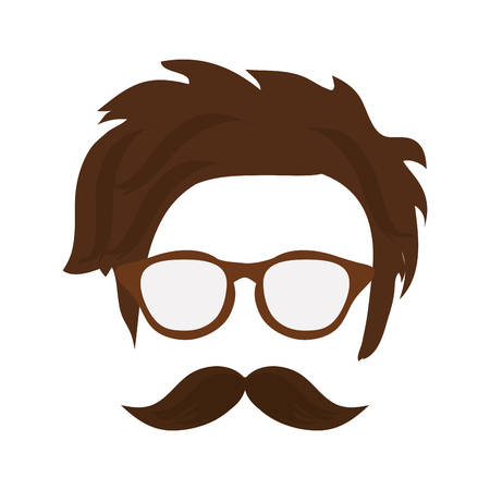 indy: hipster shabby hair with glasses and mustache vector illustration