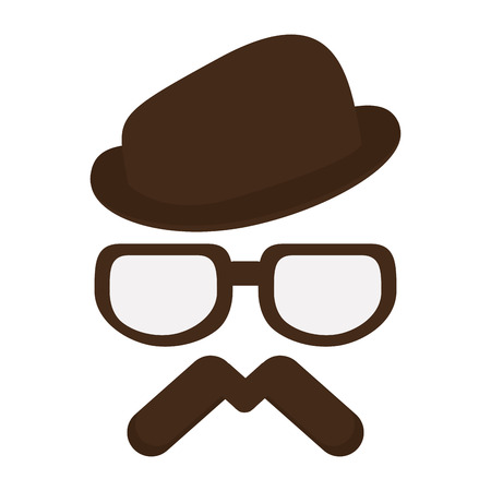sideburns: brown classic hat with glasses and full mustache vector illustration