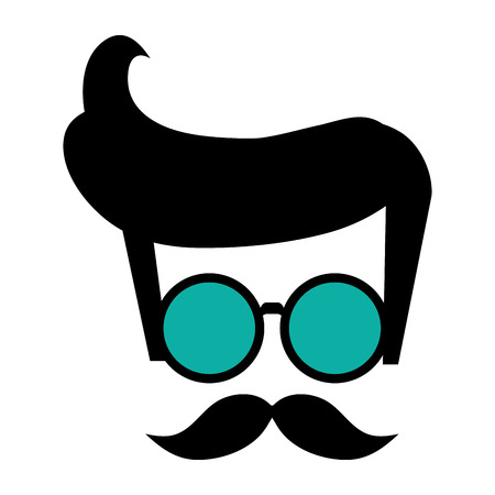 indy: hipster shabby hair with round frame glasses and mustache vector illustration Illustration