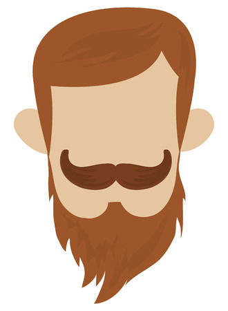 style goatee: hipster hairstyle with full mustache and beard vector illustration