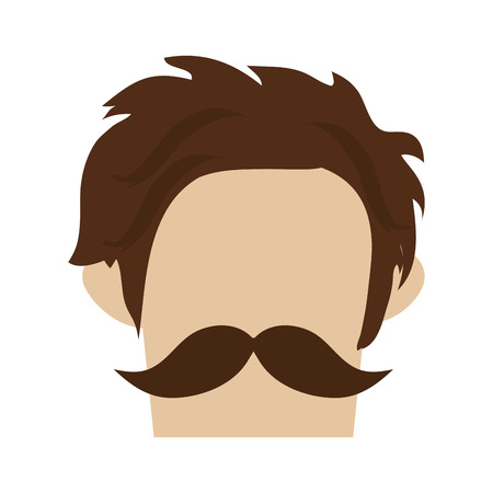style goatee: hipster hairstyle with full mustache vector illustration