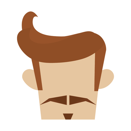 goatee: hipster hairstyle with thin mustache and goatee vector illustration