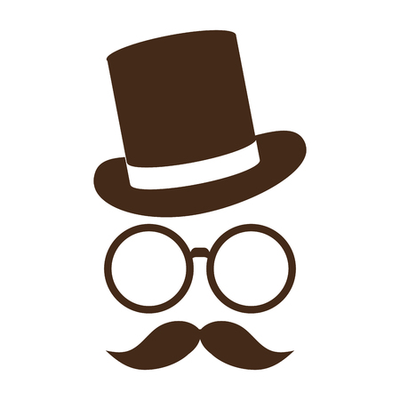 tophat: classic tophat with glasses and full mustache vector illustration