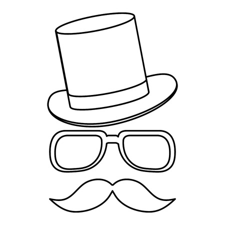 sideburns: simple black line classic hat with glasses and full mustache vector illustration