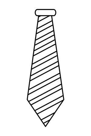 necktie: simple black line striped necktie vector illustration