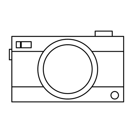 photographic: simple black line photographic camera vector illustration