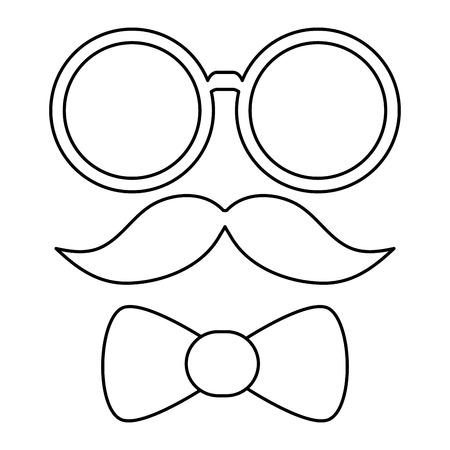 bowtie: simple black line glasses mustache and bowtie vector illustration