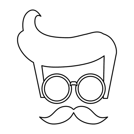 indy: hipster styled hair with glasses and mustache vector illustration Illustration