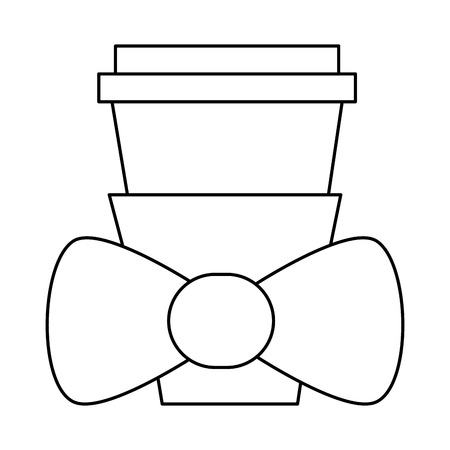 simple black line disposable coffee cup with lid and bowtie vector illustration