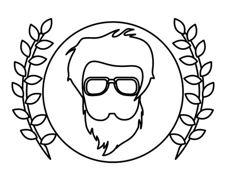 actual: hipster face with two laurel wreath vector illustration Illustration
