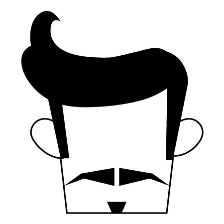 man with a goatee: man with hipster haistyle and mustache vector illustration Illustration