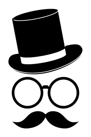apparel part: classic hat with glasses and full mustache vector illustration Illustration