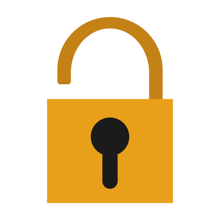 safety lock: yellow safety lock with black keyhole on front vector illustration