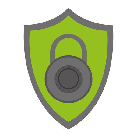 sheild: green shield with grey key lock in the center vector illustration Illustration