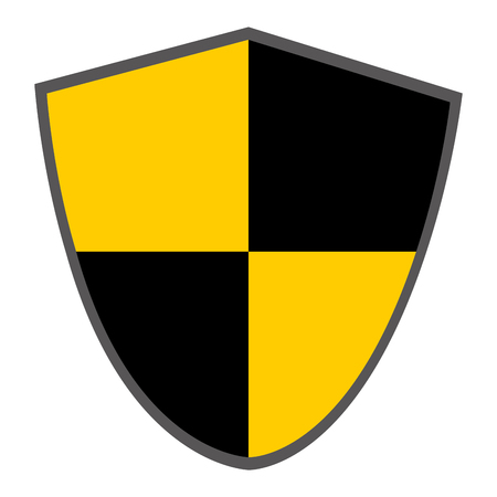 pointy: pointy shield with black and yellow squares vector illustration Illustration