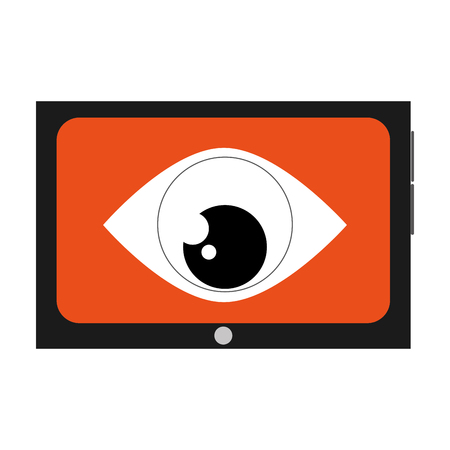 cellphone with orange screen and big eye in the center vector illustration Illustration