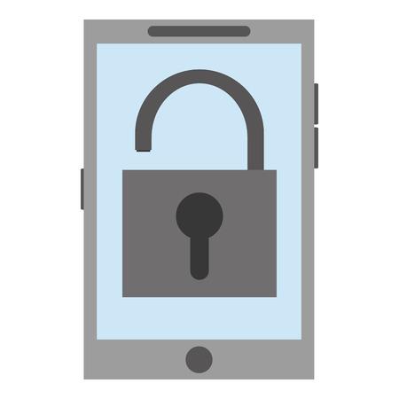 keylock: cellphone with open keylock on screen vector illustration