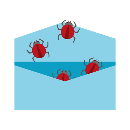 hacked: open blue envelope with red bugs coming out vector illustration