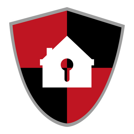 sheild: red and black shield with house shaped safety lock in the center vector illustration