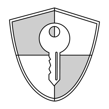 sheild: simple line shield with key in the center vector illustration