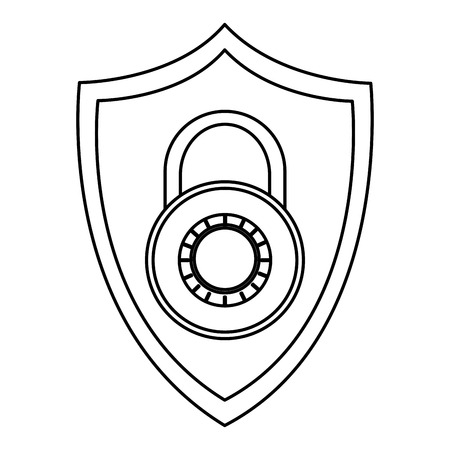sheild: simple black line shield with key lock in the center vector illustration